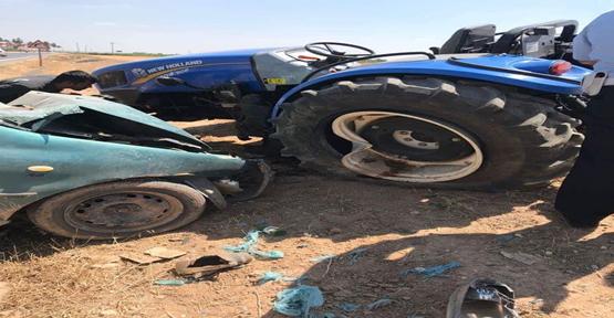 Urfa'da Traktör Otomobil İle Çarpıştı, 1 Ölü, 5 Yaralı