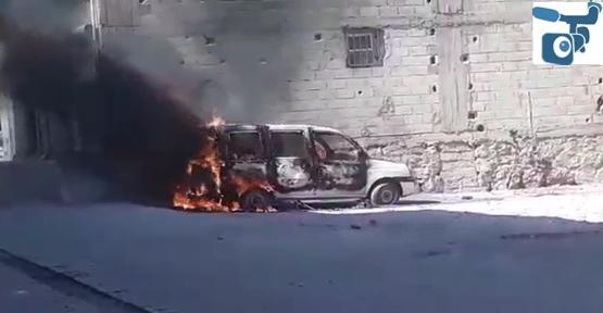 Eyyübiye'de Hafifi Ticari Araç Alev Aldı