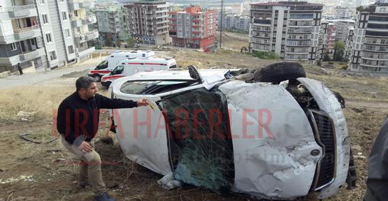 Karaköprü'de Araç Uçuruma Düştü, 3 Yaralı