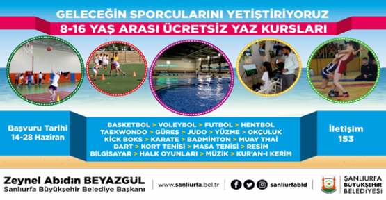 Büyükşehir'den Gençlere Yönelik 21 Branşta Ücretsiz Yaz Kursu