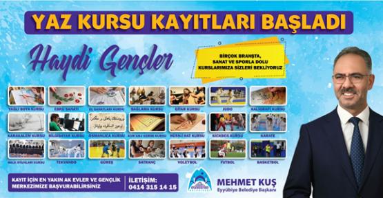 Eyyübiye Belediyesi, İlçe Gençliğini 'Yaz Kursu' Etkinliğine Bekliyor.