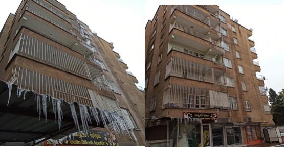 Soğuktan Evdeki Su Borusu Patladı, Apartmanda Buz Sarkıtları Oluştu