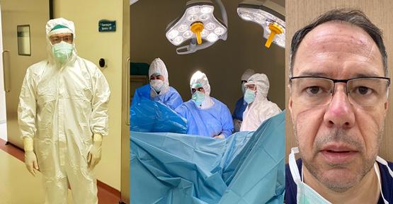 Koronavirüslü hastaya ameliyat sonrası mutluluk fotosu