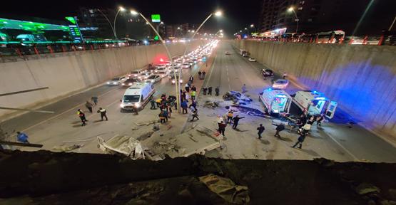 Karaköprü'de araç köprüden aşağı düştü