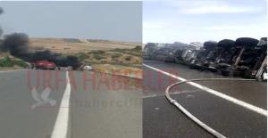 Urfa'da Pamuk Yağı Yüklü Tır Devrildi, 1 Yaralı