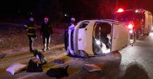 Polisten kaçan şüpheli otomobil takla attı