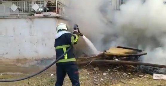 Atıkların toplandığı alanda çıkan yangın söndürüldü