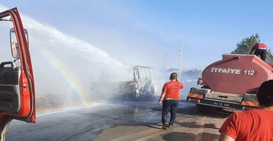 Şanlıurfa'da İşçi taşıyan servis aracı cayır cayır yandı