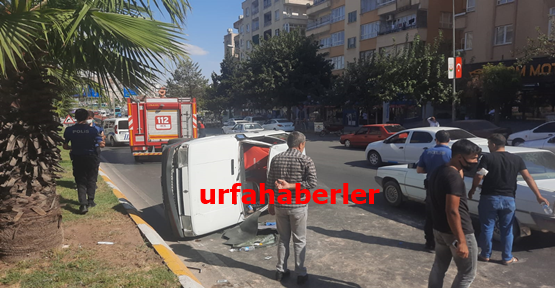 Haliliye'de otomobil takla attı